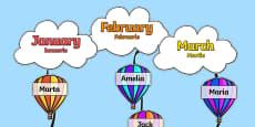 Editable Hot Air Balloon Birthday Display Romanian Translation