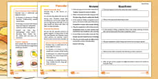 KS1 Pancake Day Differentiated Comprehension Go Respond Activity Sheets