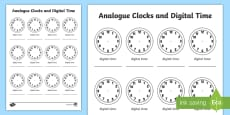 Analogue Clock and Digital Time Template Activity Sheet