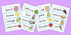 Australia - Food Topic Word Cards