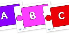 A-Z Alphabet on Jigsaw Pieces