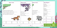 Ronald Rhymes Poem Activity Sheets