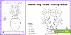 Mother's Day Flowers Addition Colouring Page