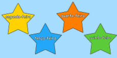 Multicoloured Stars Days of the Week Portuguese