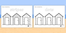 Colour-in Dots and Stripes Beach Huts