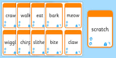 Animals Themed Verb Action Cards