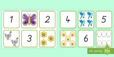 Frühling: Zahlen und Bilder 1 bis 10 Memory Karten