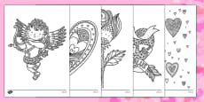 Valentine's Day Mindfulness Colouring Sheets