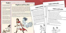 Orpheus and Eurydice Differentiated Reading Comprehension Activity