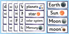 Year 5 Science Earth and Space Word Cards