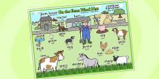 On the Farm Scene Word Mat Arabic Translation