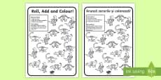 Dinosaur Colour and Roll Activity Sheet English/Romanian