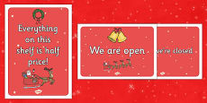Christmas Shop Role Play Signs