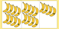 Banana-Themed Number Fan 1-20