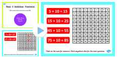 Year 2 Adding 2 Digit Numbers and Tens Not Crossing 100 With Same 10s Using Number Squares PowerPoint