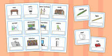 EAL Everyday Objects at School Editable Cards with English Portuguese