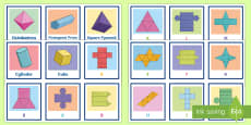 3D Shapes and Nets Matching Cards