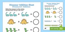 Dinosaur Addition Sheet German/English