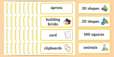 Yellow Themed Editable Classroom Resource Labels