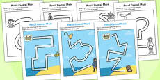 Pirate Themed Pencil Control Maze Activity Sheets