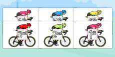 Tour de France Cyclists Ordinal Number Sorting Activity