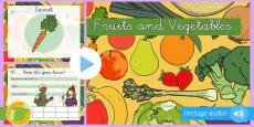 Presentación con audio: Frutas y verduras - Inglés
