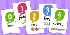 0-20 Number and Word Posters with Objects Polish