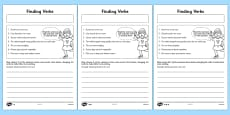 Finding Verbs Activity Sheet