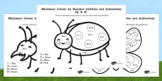 Minibeast Colour by Number Addition and Subtraction Pack