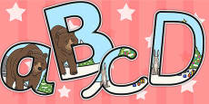 The Bear and the Hare Themed Size Editable Display Lettering