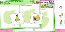 Fruit and Vegetable Like or Dislike Sorting Activity