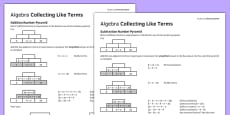 KS3_KS4 Maths Student Led Practice Sheets Algebra Collecting Like Terms