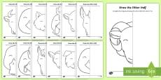 Farm Animals - Draw the Other Half Aistear Activity Sheet
