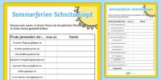 Back to School Summer Fun Classmate Scavenger Hunt German
