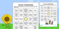 Summer Activity Bingo