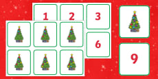 Christmas Tree Ornaments Number Matching Activity