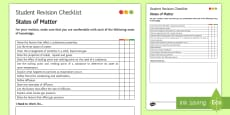 States of Matter Student Revision Checklist