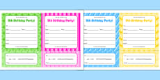 5th Birthday Party Invitations