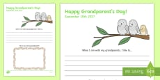 Grandparents Day Draw and Write Activity Sheet
