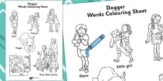 Words Colouring Sheet to Support Teaching on Dogger