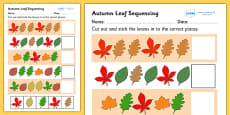 Autumn Leaf Sequencing Activity Sheet
