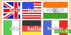 * NEW * Hello in Multiple Languages Flag Display Posters