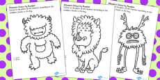 Monster Colour by Number Activity Sheets