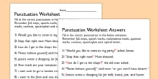Complete The Sentence Punctuation Activity Sheet