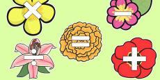 Maths Symbols on Flowers
