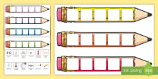 Editable Writing Target Cards Pencils