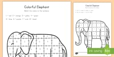 Colorful Elephant Color by Number Activity Sheet