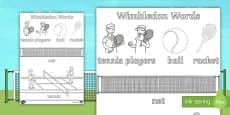Wimbledon Themed Words Colouring Sheets