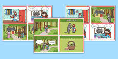 Little Red Riding Hood Story Sequencing 4 per A4 Speech Bubbles Arabic