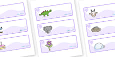 Lilac Themed Editable Drawer-Peg-Name Labels